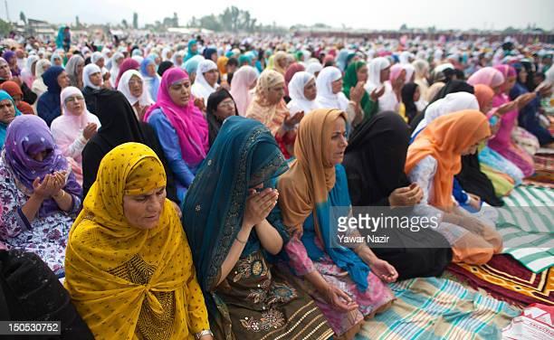 Muslims women offer congregational EidulFitr prayers at Eid Gah during EidalFitr festival on August 20 2012 in Srinagar the summer capital of Indian...