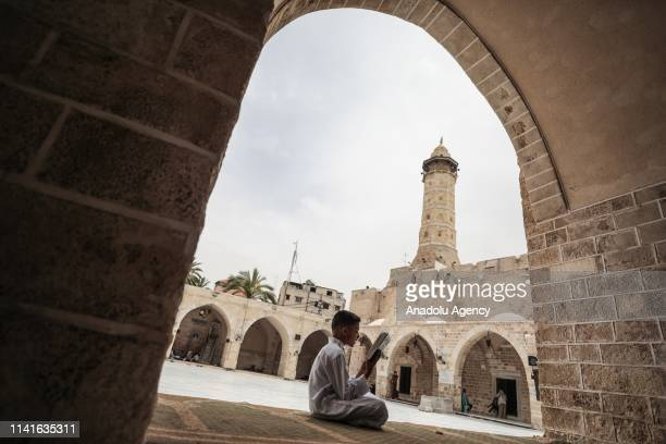 Muslims worship at Great Mosque of Gaza during the holy month of Ramadan in Gaza City, Gaza on May 6, 2019.