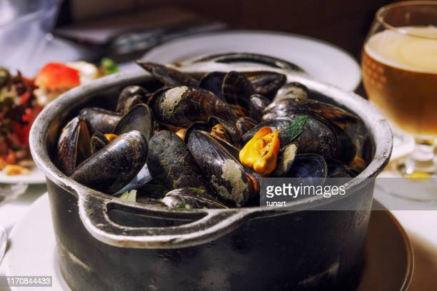 mussels and beer, brussel, belgium - traditionally belgian stock pictures, royalty-free photos & images