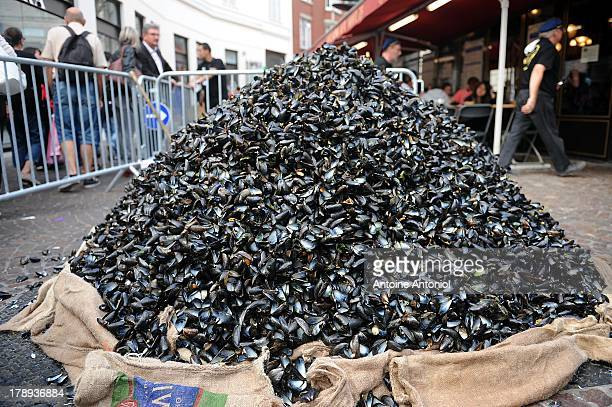 Mussels are seen outside a restaurant during the annual Braderie de Lille on August 31 2013 in Lille France The Braderie de Lille is one of the...