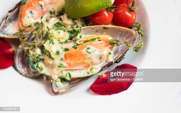 mussels under sauce with tomatoes and lemon - igor golovniov stock pictures, royalty-free photos & images