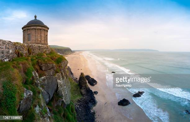 mussenden temple and downhill beach - ireland stock pictures, royalty-free photos & images
