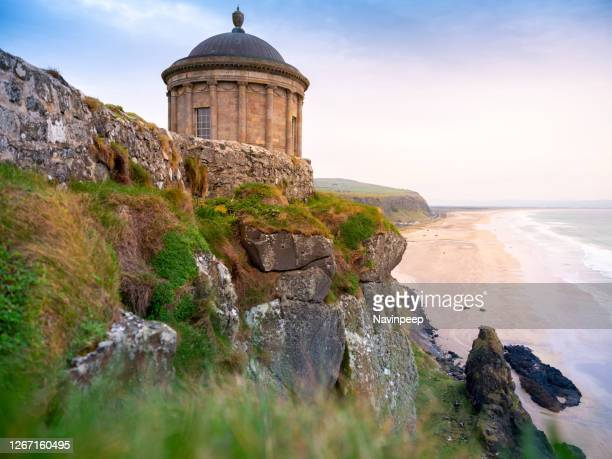 mussenden temple and downhill beach - northern ireland stock pictures, royalty-free photos & images