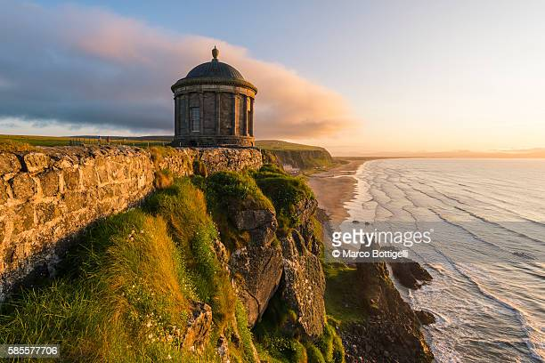 mussenden temple, castlerock, county antrim, ulster region, northern ireland, united kingdom. - northern ireland stock pictures, royalty-free photos & images
