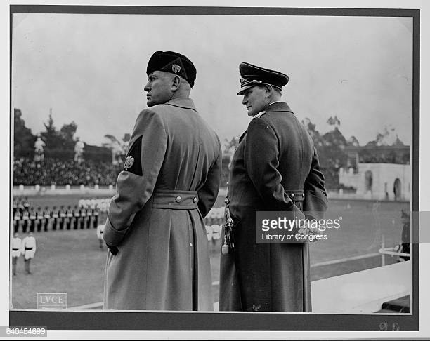 Mussolini and Goering Reviewing Troops