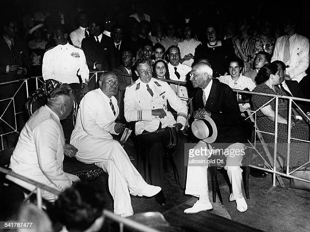 Mussolini Benito Politician Italy*29071883from left Robert Ley Mussolini Viktor Lutze and Kirby delegate for the Congress 'for Leisure and Recreation...