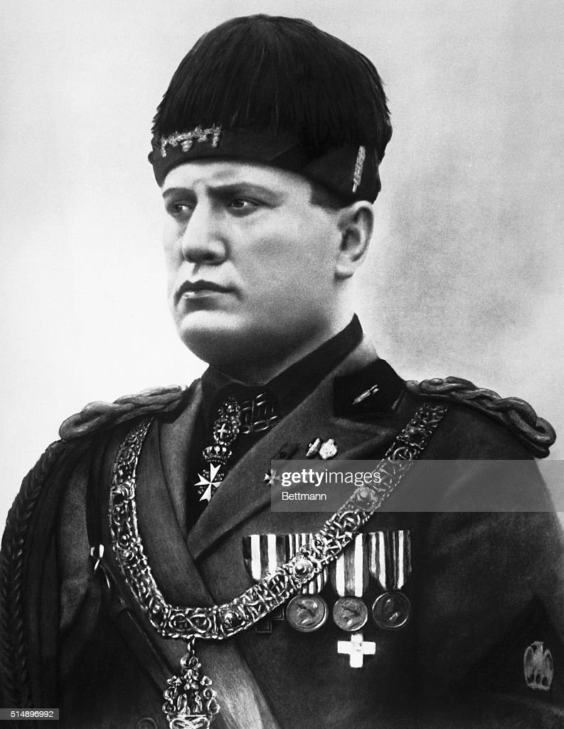 Benito Mussolini in Military Regalia : News Photo