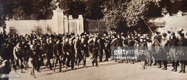 Mussolini leading a march through Rome Italy 1922 Benito Mussolini became Prime Minister of Italy in October 1922 after thousands of members of his...