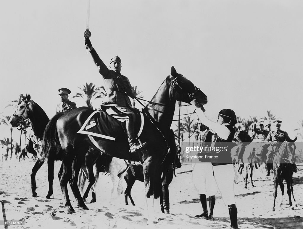Mussolini Receiving The Islam Sword At Tripoli In Lybia On March 1937. : News Photo