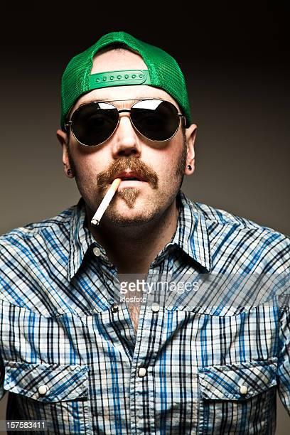 Mustache Guy Smoking