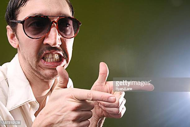 mustache salesman and pointing gesture - ugly bald man stock photos and pictures