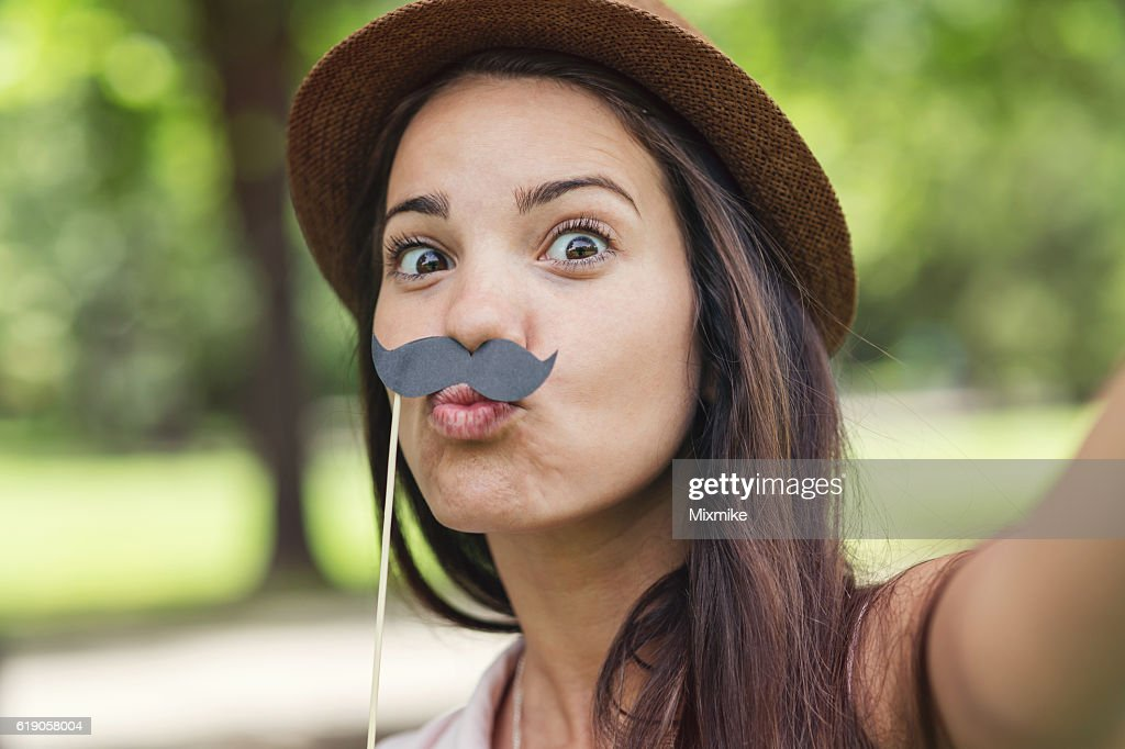 Schnurrbart selfie : Stock-Foto