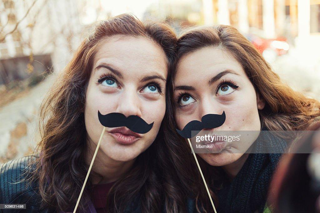 Mustaches selfie : Stock Photo