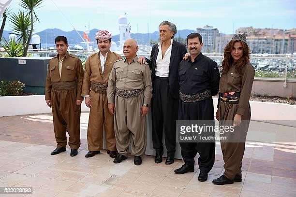 Mustafa Ali Jaafar Director BernardHenri Levy Serwan Sabir Barzani and Ali Kheder Khatoon attend 'Peshmerga' Photocall during The 69th Annual Cannes...
