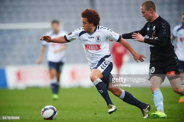 Mustafa Amini of AGF Aarhus and Marcel Romer of Sonderjyske compete for the ball during the Danish Alka Superliga match between AGF Aarhus and...