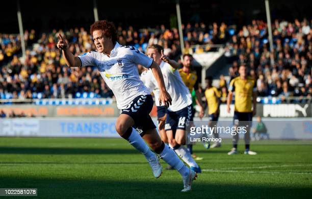 Mustafa Amini of AGF Aarhus celebrates after scoring their first goal during the Danish Superliga match between Hobro IK and AGF Aarhus at DS Arena...