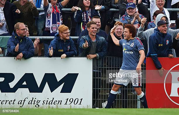 Mustafa Amini of AGF Aarhus celebrates after scoring their second goal during the Danish Alka Superliga match between Sonderjyske and AGF Aarhus at...