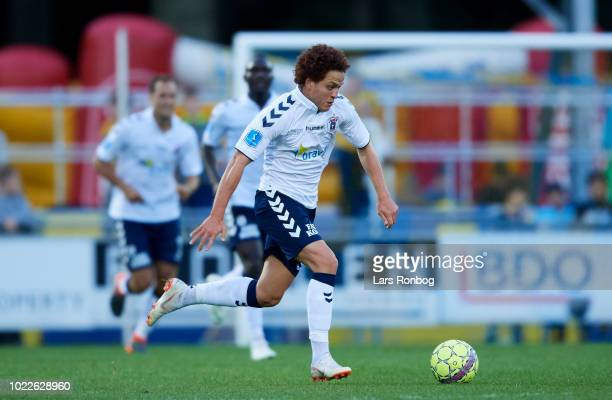 Mustafa Amini of AGF Aarhus controls the ball during the Danish Superliga match between Hobro IK and AGF Aarhus at DS Arena on August 24 2018 in...