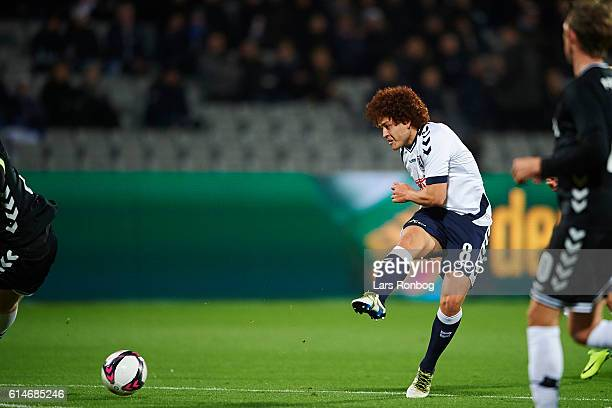 Mustafa Amini of AGF Aarhus in action during the Danish Alka Superliga match between AGF Aarhus and AC Horsens at Ceres Park on October 14 2016 in...