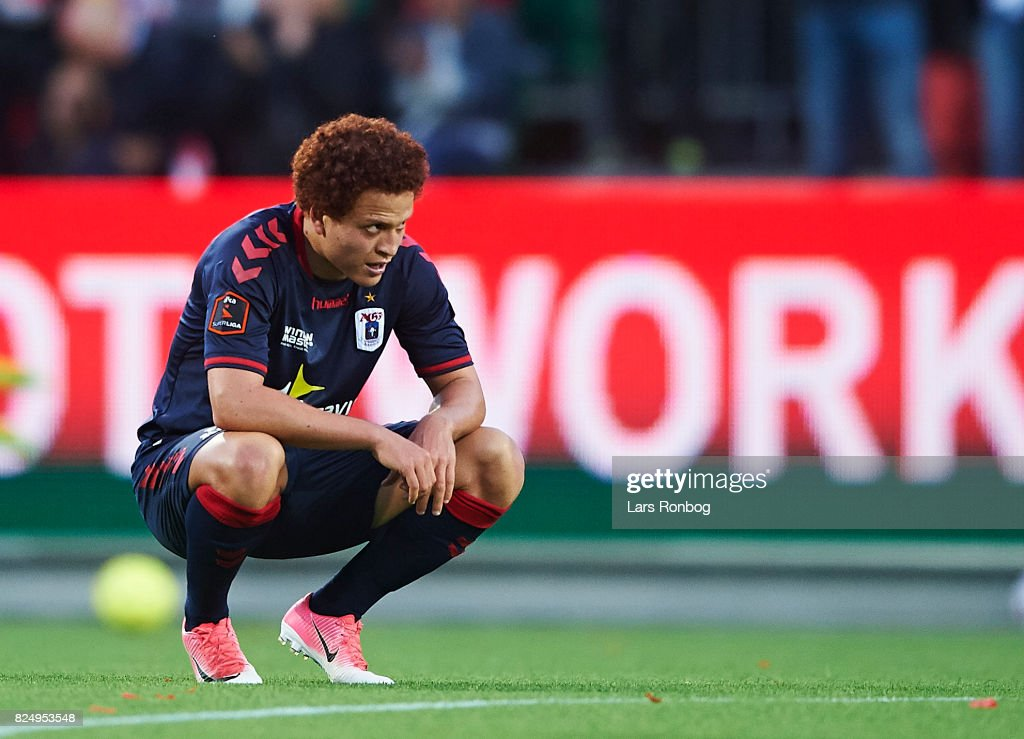 Mustafa Amini of AGF Aarhus looks dejected after the Danish Alka Superliga match between Silkeborg IF and AGF Aarhus at Jysk Park on July 31, 2017 in Silkeborg, Denmark.