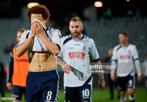 Mustafa Amini of AGF Aarhus looks dejected after the Danish Alka Superliga match between AGF Aarhus and FC Midtjylland at Ceres Park on September 25...