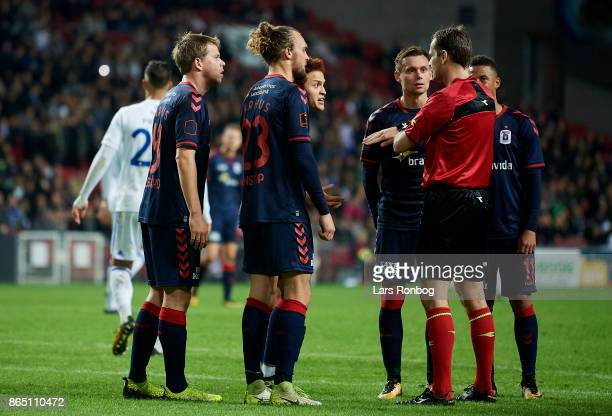 Mustafa Amini of AGF Aarhus shows frustration against Referee Michael Johansen during the Danish Alka Superliga match between FC Copenhagen and AGF...