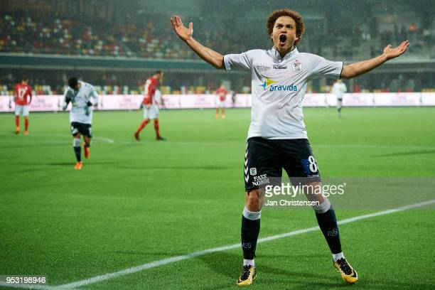 Mustafa Amini of AGF Arhus celebrate after his 25 goal during the Danish Alka Superliga match between Silkeborg IF and AGF Arhus at JYSK Park on...