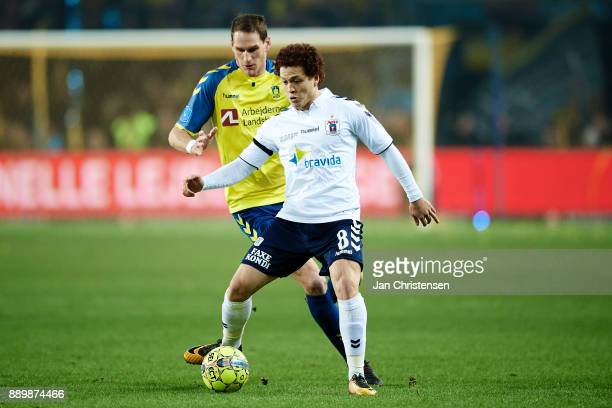Mustafa Amini of AGF Arhus compete for the ball during the Danish Alka Superliga match between Brondby IF and AGF Arhus at Brondby Stadion on...