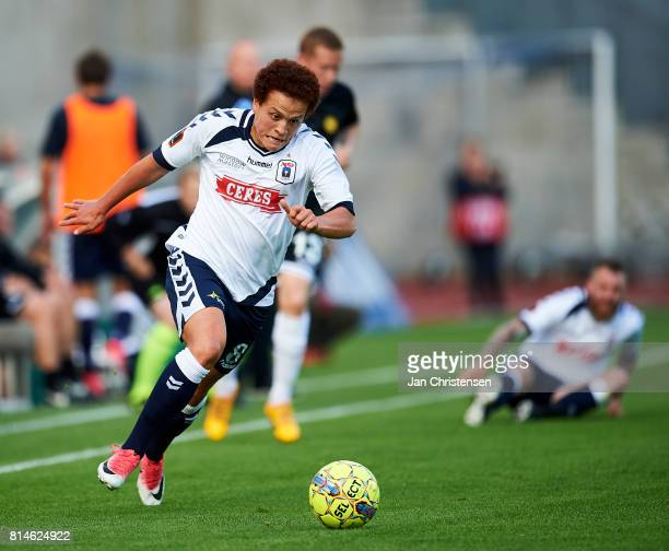 Mustafa Amini of AGF Arhus in action during the Danish Alka Superliga match between AGF Arhus and AC Horsens at Ceres Park on July 14 2017 in Arhus...