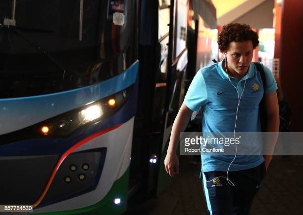 Mustafa Amini of Australia aarives for the 2018 FIFA World Cup Asian Playoff match between Syria and the Australia Socceroos at Hang Jebat Stadium on...