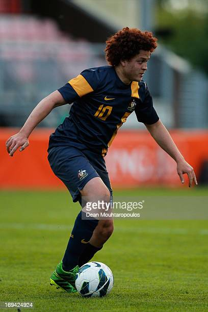 Mustafa Amini of Australia in action during the International friendly match between Netherlands U21's and Australia U21's at Unive Stadium on May 24...