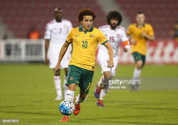 Mustafa Amini of Australia runs with the ball during the AFC U23 Championship Group D match between Australia and the United Arab Emirates at Grand...