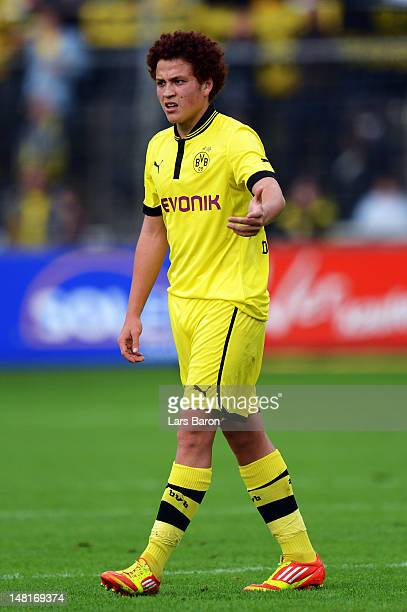 Mustafa Amini of Dortmund gestures during a friendly match between SV Meppen and Borussia Dortmund at MEPArena on July 11 2012 in Meppen Germany