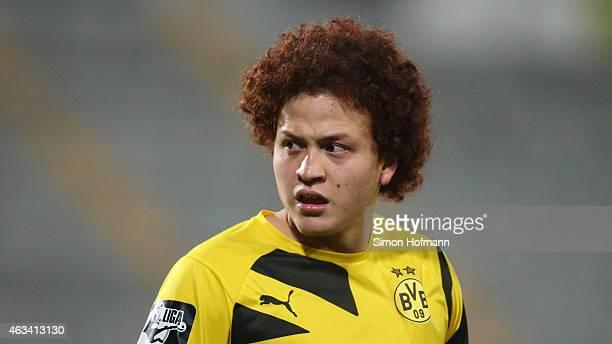 Mustafa Amini of Dortmund looks on during the Third League match between 1 FSV Mainz 05 II and Borussia Dortmund II at BruchwegStadion on February 13...