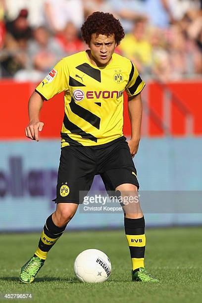 Mustafa Amini of Dortmund runs with the ball during the friendly match between Rot Weiss Essen and Borussia Dortmund at Stadion Essen on July 27 2014...
