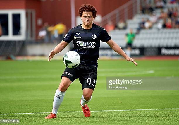 Mustafa Amini of Randers FC controls the ball during the Danish Alka Superliga match between AGF Aarhus and Randers FC at Ceres Park on August 2 2015...