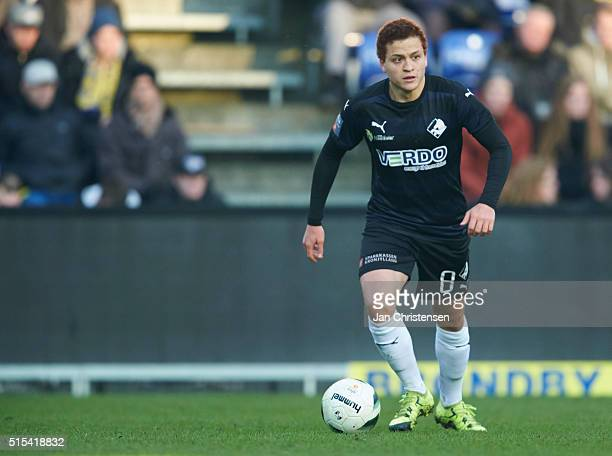 Mustafa Amini of Randers FC in action during the Danish Alka Superliga match between Brondby IF and Randers FC at Brondby Stadion on March 13 2015 in...