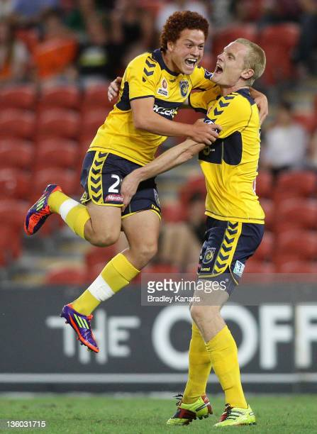Mustafa Amini of the Mariners celebrates after scoring a goal during the round 11 ALeague match between the Brisbane Roar and the Central Coast...