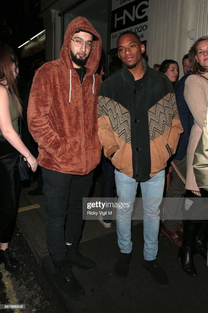 Mustafa and Jamaal of Rak-Su seen arriving at Mahiki club in Mayfair on December 7, 2017 in London, England.