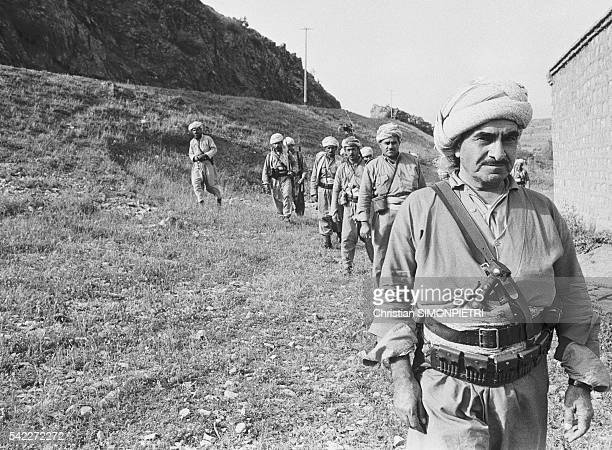 Mustafa Barzani founder of the Kurdish Democrat Party with his Peshmergas in the Kurdistan mountain region of Iraq