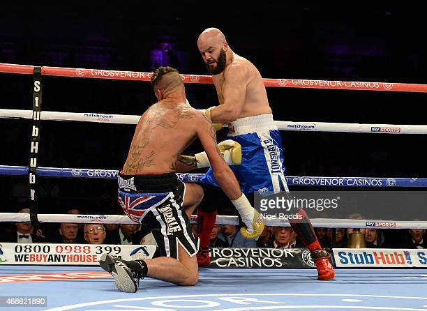 Mustafa Chadlioui knocks out Travis Dickinson during their Light Heavyweight boxing contest at the Metro Arena on April 4 2015 in Newcastle upon Tyne...
