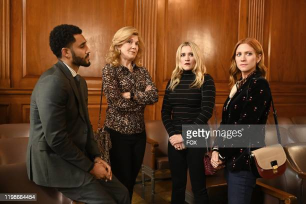 Mustafa Elzein guest star Victoria Clark Emily Osment and Brittany Snow in the Expectant AF season finale episode of ALMOST FAMILY airing Wednesday...