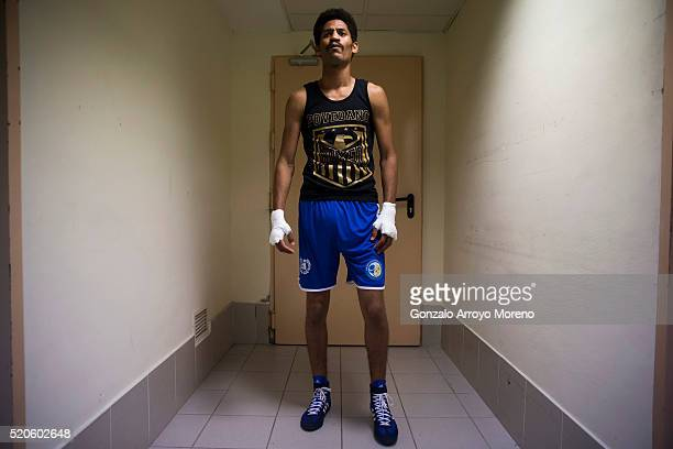 Mustafa Gueye stands at Casino Gran Madrid backstage before his 4x3 bout against Jesus Sanchez alias El Ciclon during the Madrid Casino Boxing Series...