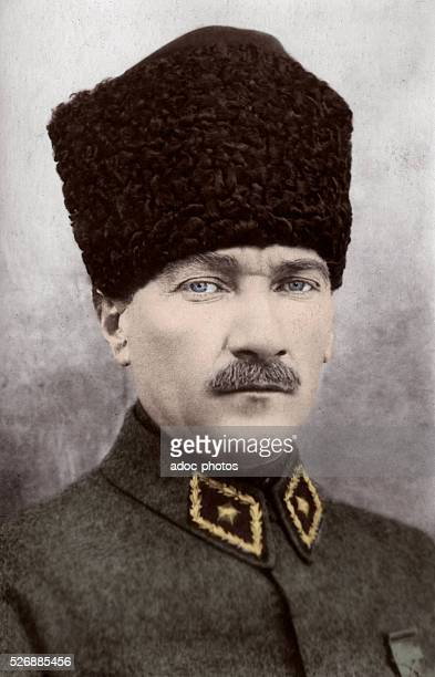 Mustafa Kemal Atat��rk founder of the Republic of Turkey and its first President Ca 1925 Coloured photograph