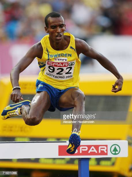 Mustafa Mohamed of Sweden jumps a hurdle during the Men's 3000 Metres Steeplechase Final on day five of the 19th European Athletics Championships at...