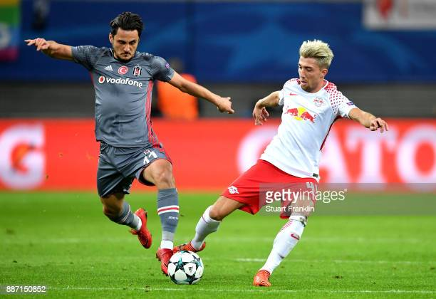 Mustafa Pektemek of Besiktas and Kevin Kampl of RB Leipzig during the UEFA Champions League group G match between RB Leipzig and Besiktas at Red Bull...