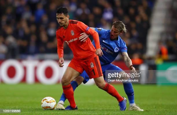Mustafa Pektemek of Besiktas holds off Sebastien Dewaest of KRC Genk during the UEFA Europa League Group I match between KRC Genk and Besiktas at...