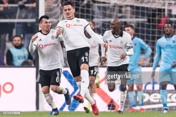 Mustafa Pektemek of Besiktas JK celebrate his goal during the Turkish Spor Toto Super Lig football match between Besiktas JK and Trabzonspor AS on...