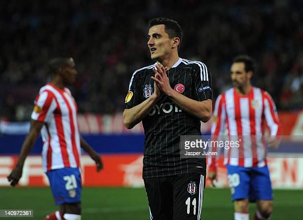 Mustafa Pektemek of Besiktas JK reacts after failing to score during the UEFA Europa League round of 16 first leg match between Club Atletico de...