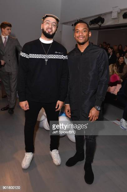 Mustafa Rahimtulla and Jamaal Shurland of RakSu attend the What We Wear show during London Fashion Week Men's January 2018 at BFC Show Space on...